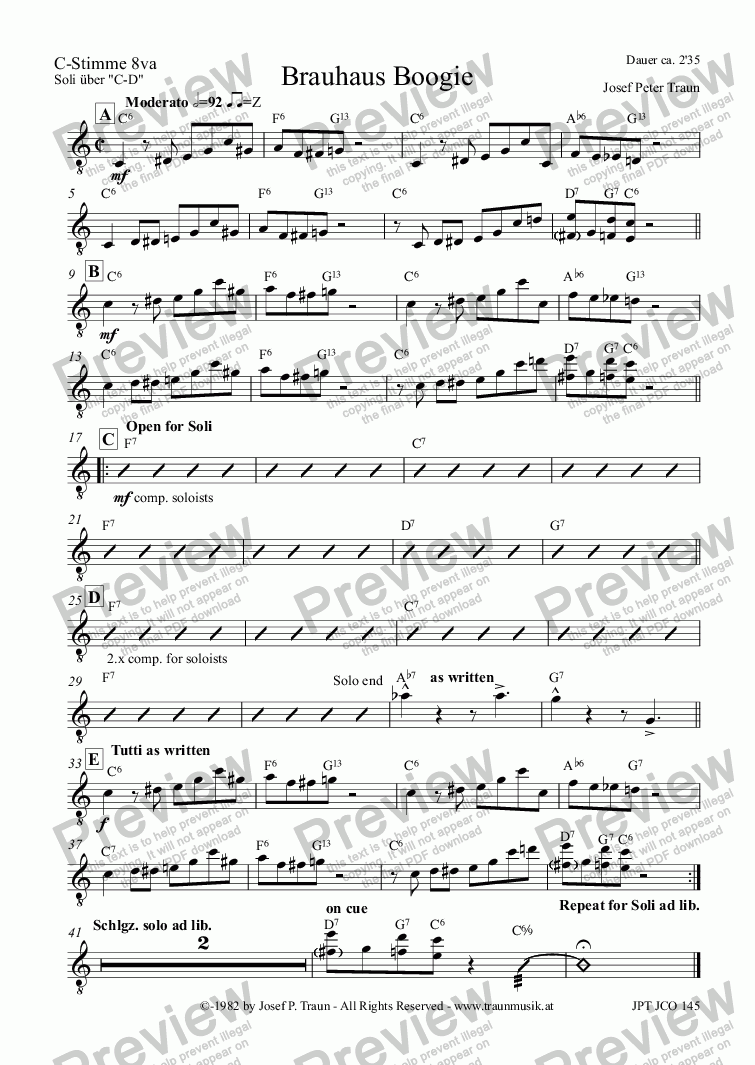 page one of the C-Stimme 8va (JCO) part from Brauhaus Boogie (JCO/Score & Parts)