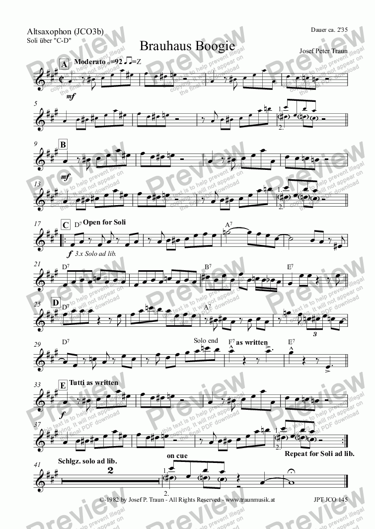 page one of the Altsaxophon (JCO3b) part from Brauhaus Boogie (JCO/Score & Parts)