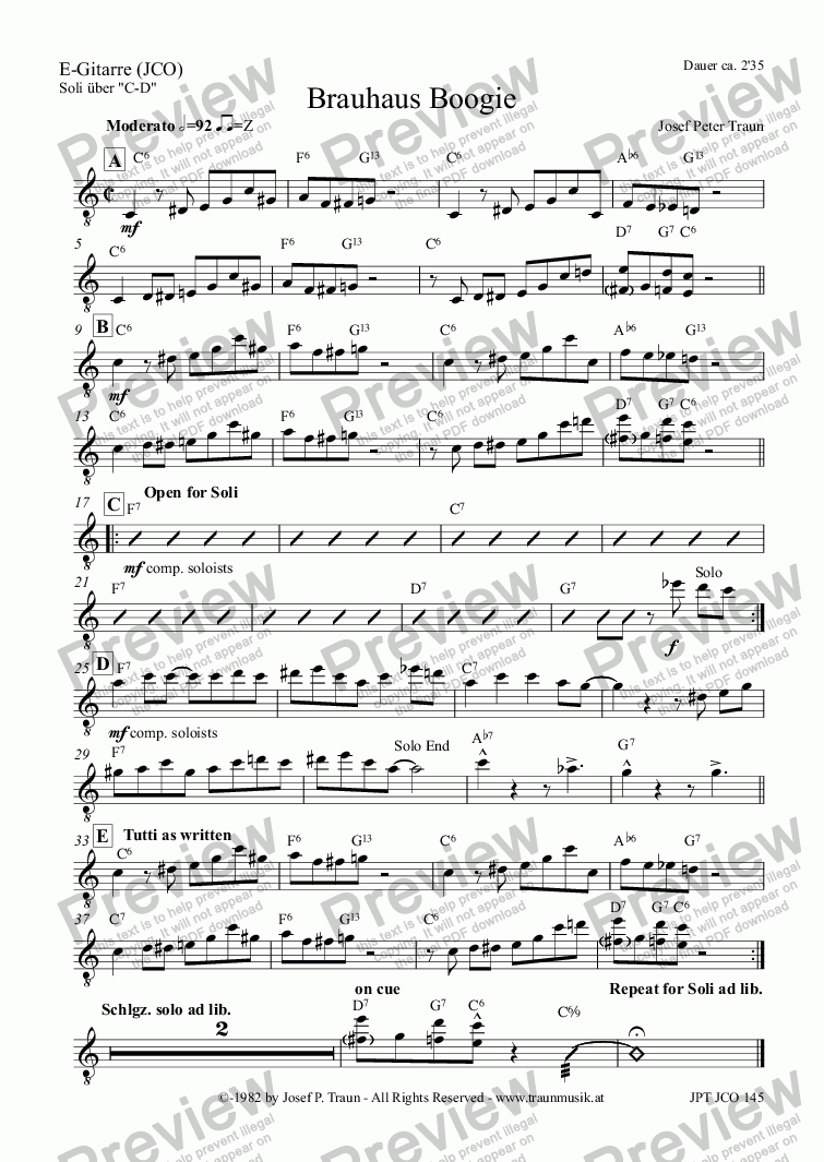 page one of the E-Gitarre (JCO) part from Brauhaus Boogie (JCO/Score & Parts)