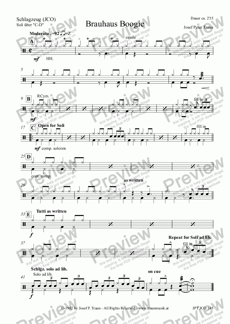 page one of the Schlagzeug (JCO) part from Brauhaus Boogie (JCO/Score & Parts)