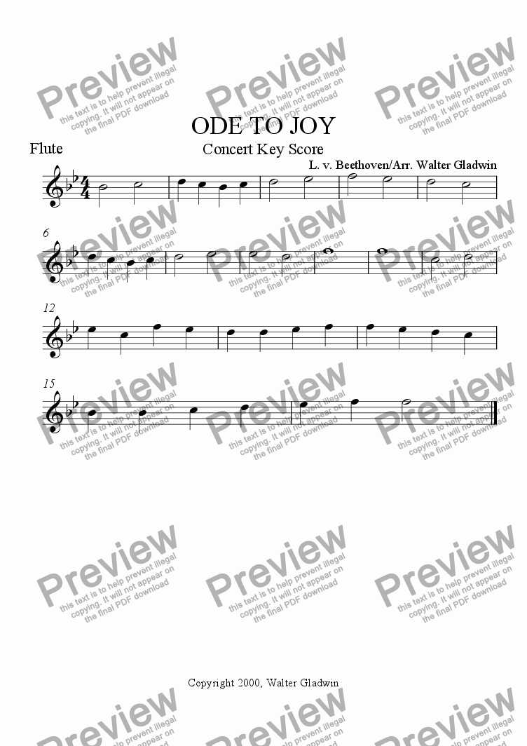 page one of the Flute part from Ode To Joy