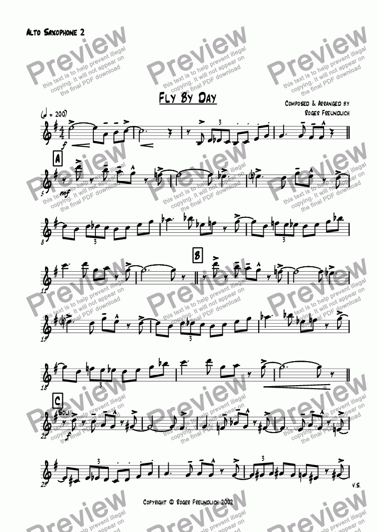 page one of the Alto Saxophone 2 part from Fly By Day (big band)