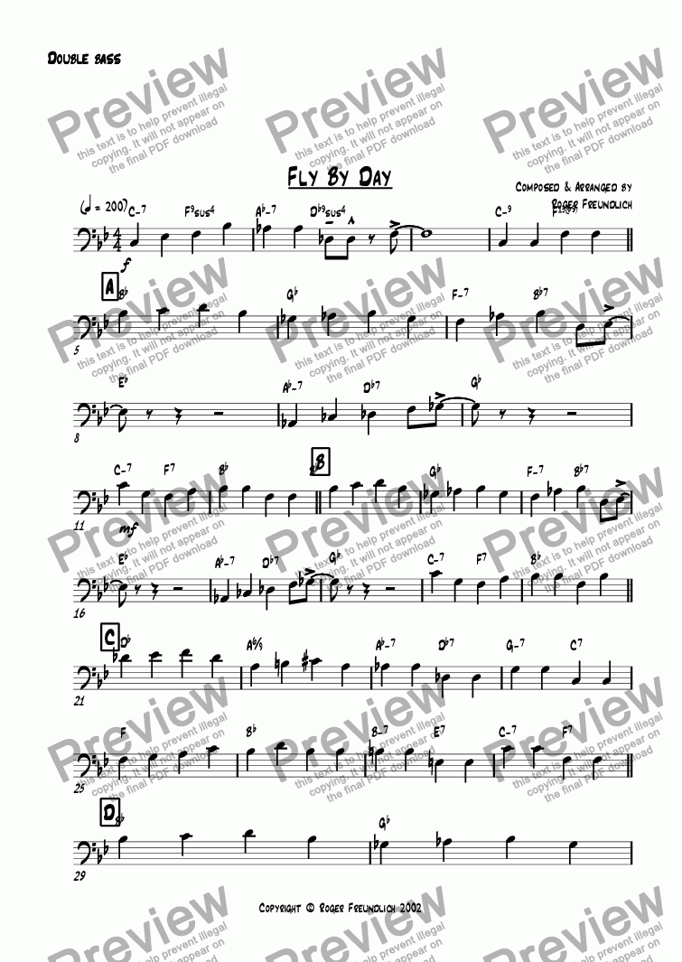 page one of the Double bass part from Fly By Day (big band)
