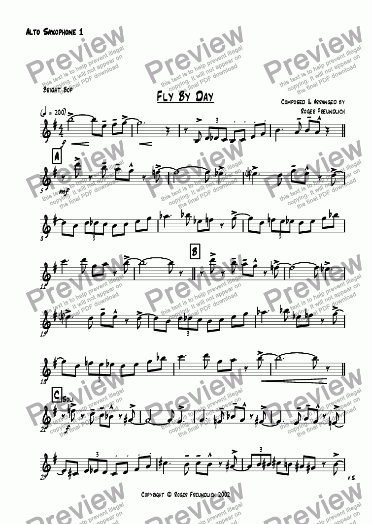 page one of the Alto Saxophone 1 part from Fly By Day (big band)