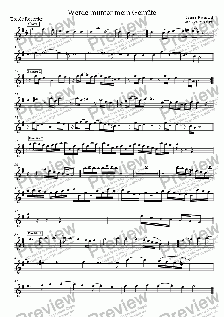 "page one of the Alto Recorder part from Pachelbel for Recorders: ""Werde munter, mein Gem�te"" (revised) for SATB recorder quartet"