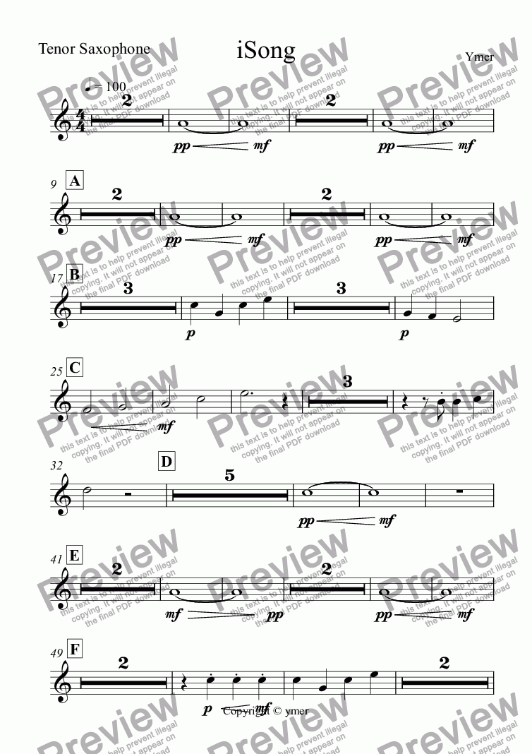 page one of the Tenor Saxophone part from iSong