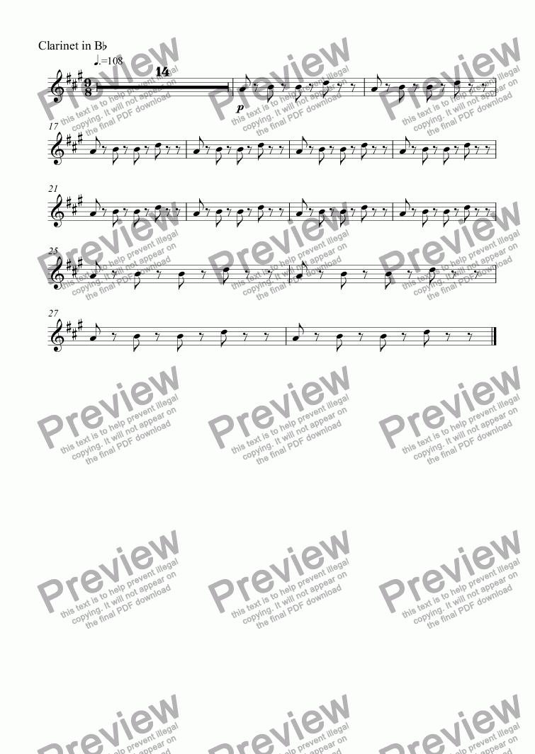 page one of the Clarinet in B^b part from untitled
