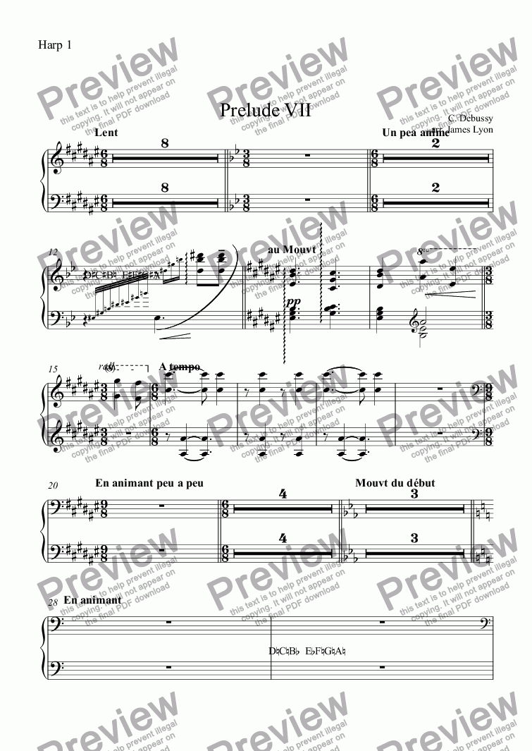 page one of the Harp 1 part from Prelude VII
