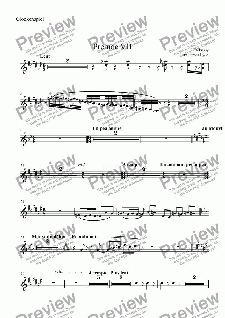 page one of the Glockenspiel part from Prelude VII