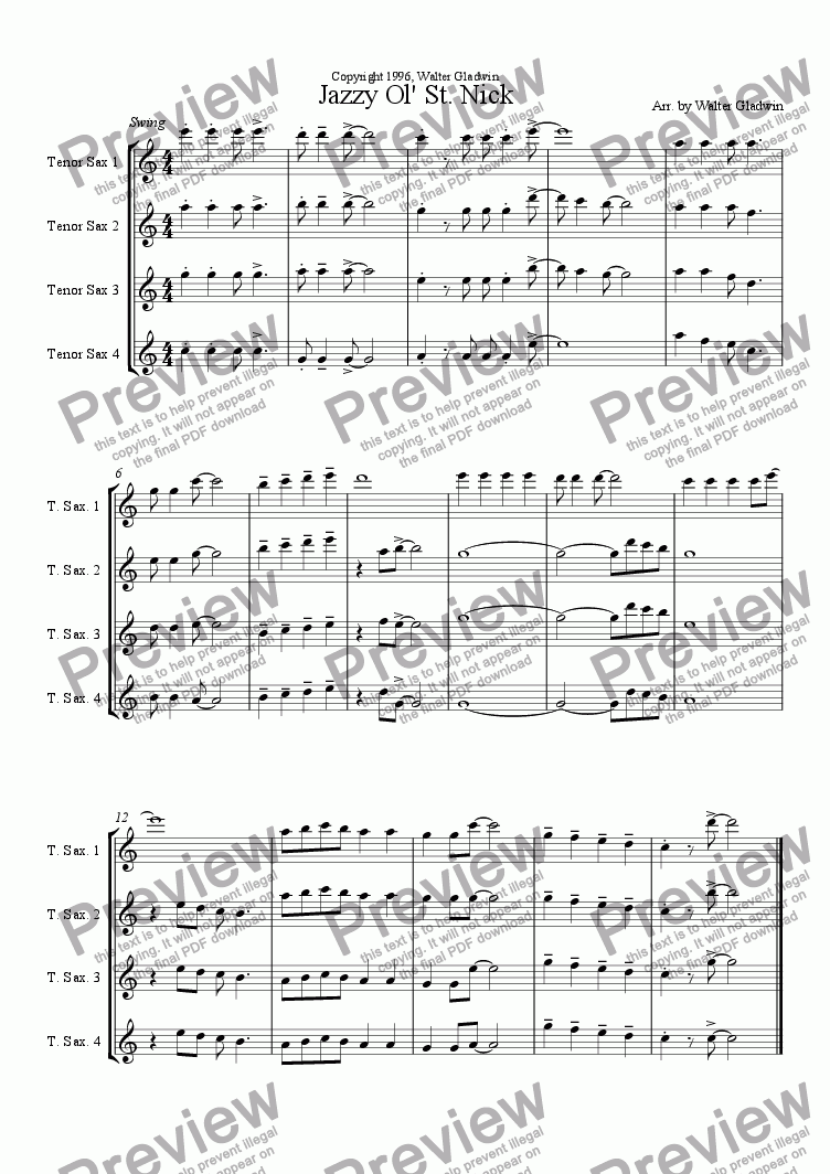 page one of the Tenor Saxophones part from Jazzy Ol' St. Nick Quartets