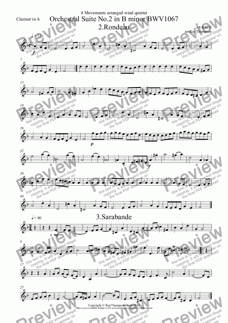 page one of the Clarinet in A part from Orchestral Suite No.2 in B minor BWV1067 (4 movements): 2.Rondeau, 3.Sarabande, 6.Menuet, 7. Badinerie
