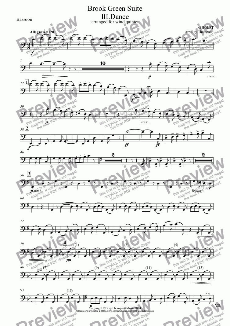 page one of the Bassoon part from Holst: Brook Green Suite: III.Dance (arranged wind quintet)