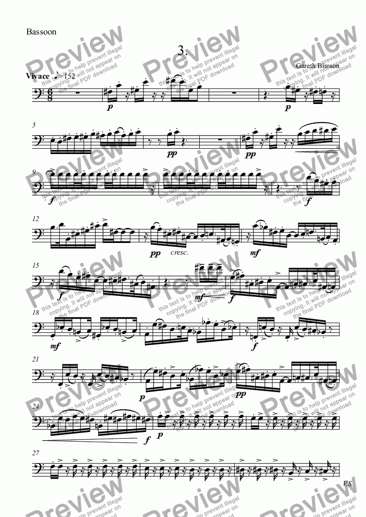 page one of the Bassoon part from Mini Sonatine 3rd Movt