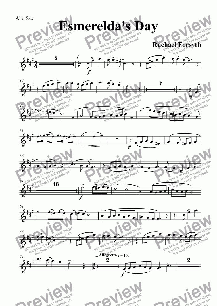 page one of the Alto Sax. part from Esmerelda's Day