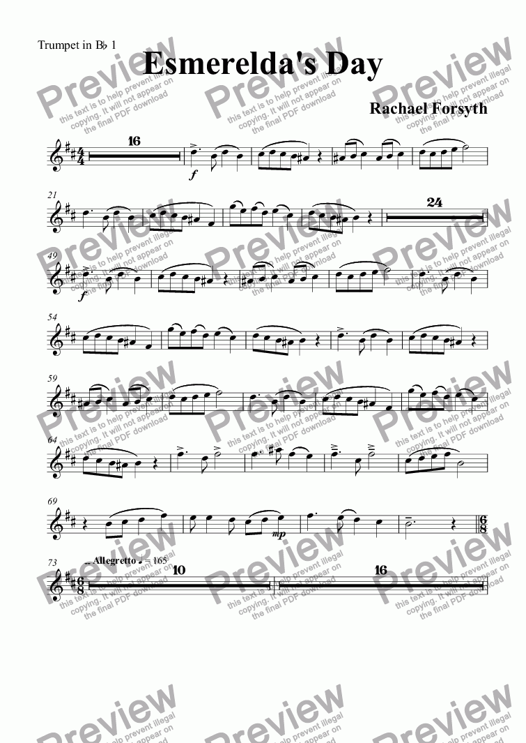 page one of the Trumpet in B^b 1 part from Esmerelda's Day