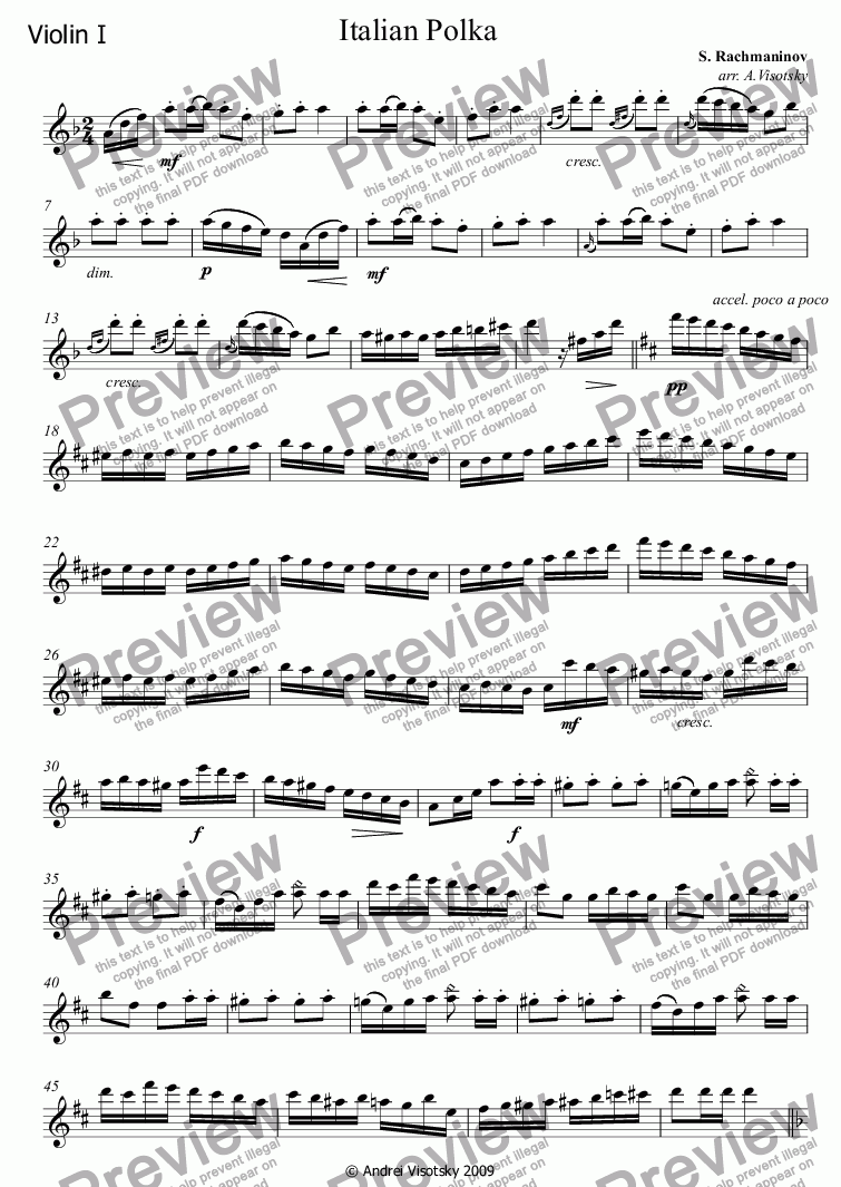 page one of the Violin I part from Italian Polka