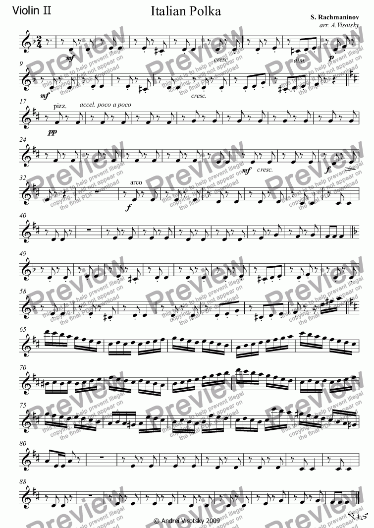 page one of the Violin II part from Italian Polka