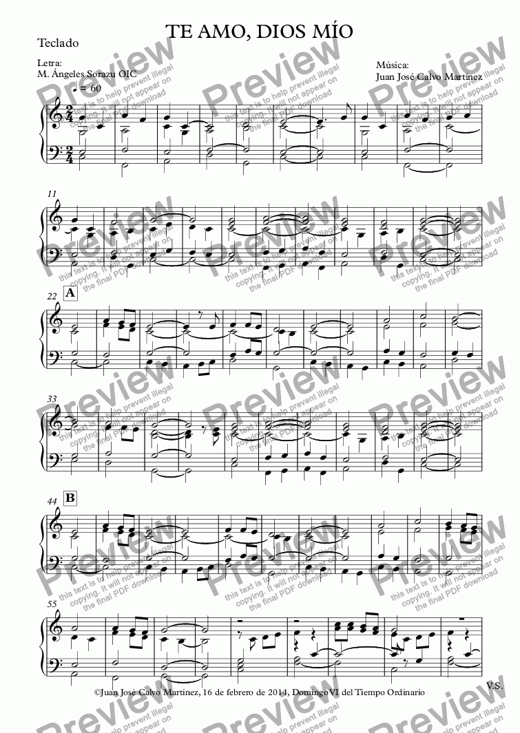 page one of the Teclado part from Te amo, Dios mío