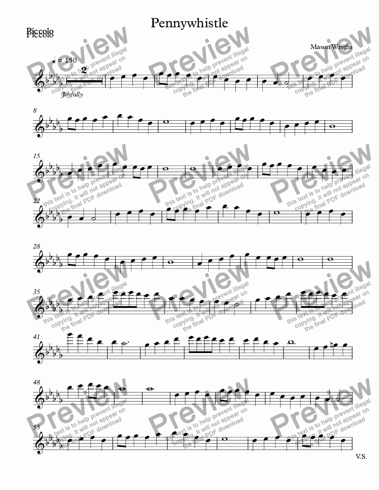 page one of the Piccolo part from Pennywhistle