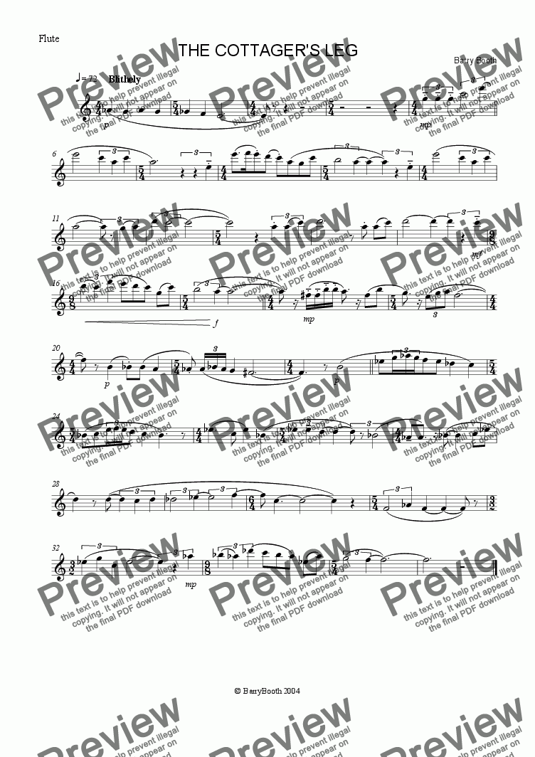 page one of the Flute part from The Cottager's Leg