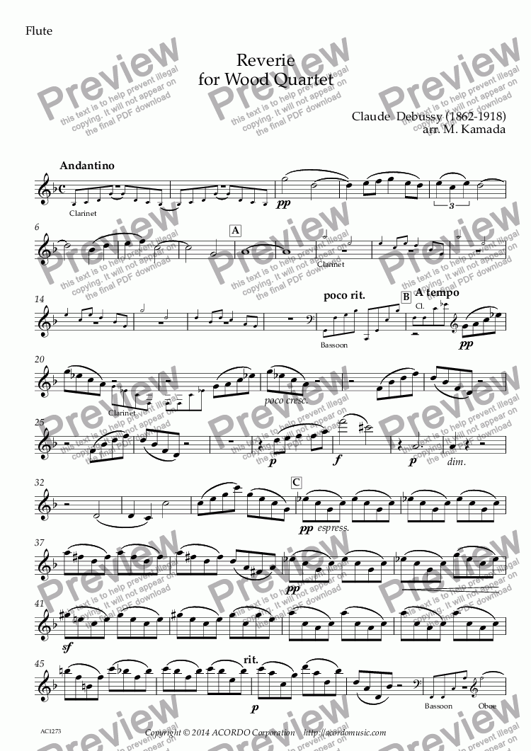 page one of the Flute part from Reverie for Wood Quartet