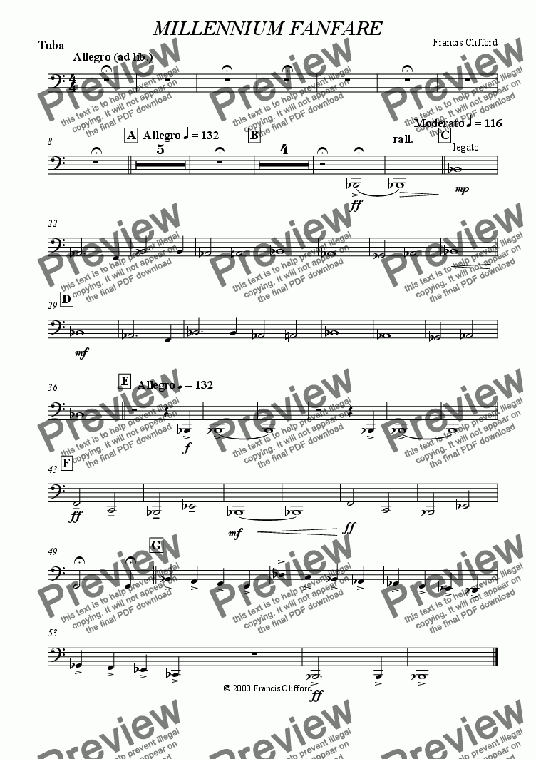 page one of the Tuba part from Millennium Fanfare (10 Piece Brass)
