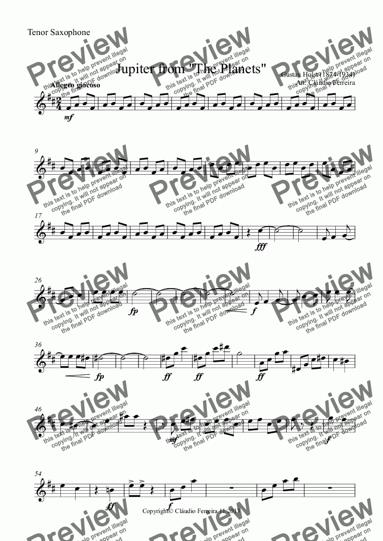 "page one of the Tenor Saxophone part from Jupiter from ""The Planets"""