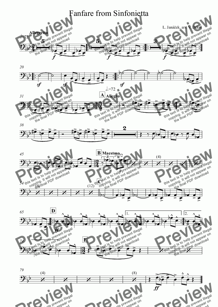 page one of the Bass Trombone part from Fanfare from Sinfonietta