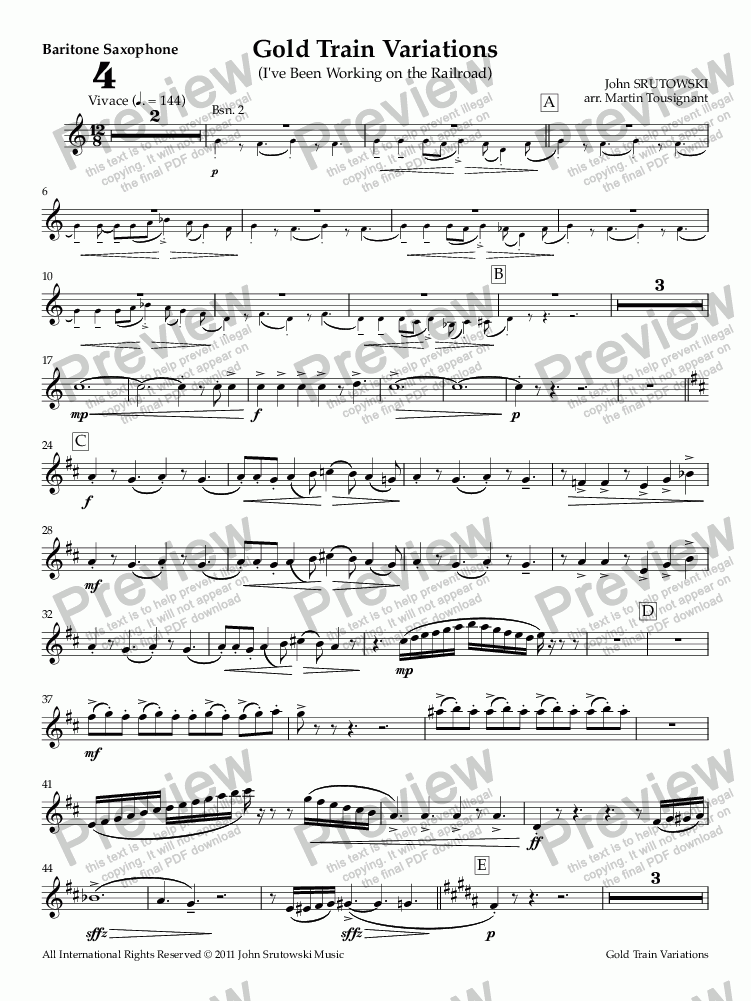 page one of the Baritone Saxophone part from Gold Train Variations