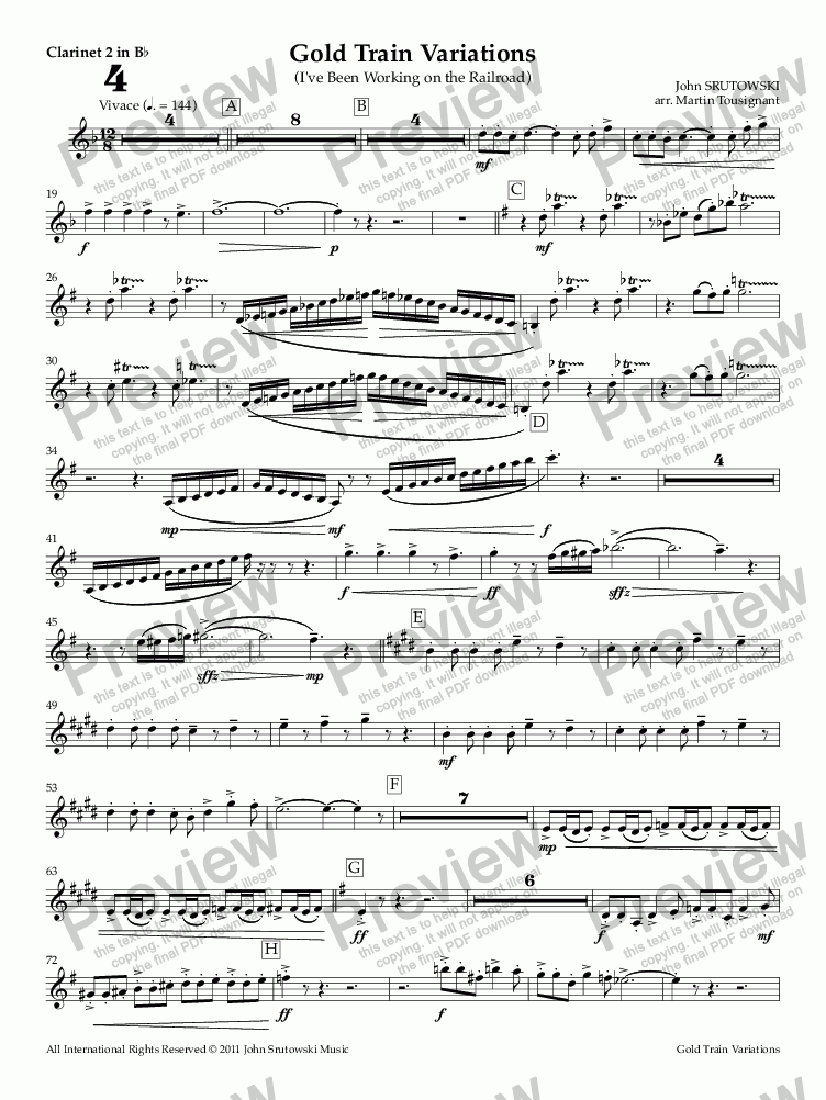 page one of the Clarinet 2 in Bb part from Gold Train Variations