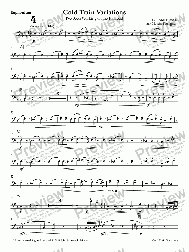 page one of the Euphonium part from Gold Train Variations