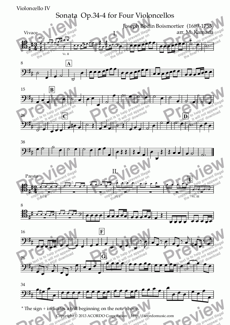 page one of the Violoncello IV part from Sonata  Op.34-4 for Four Violoncellos