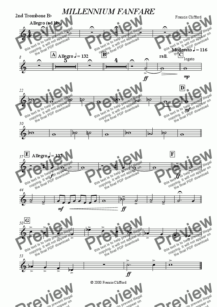 page one of the 2nd Trombone in Bb part from Millennium Fanfare (10 Piece Brass)