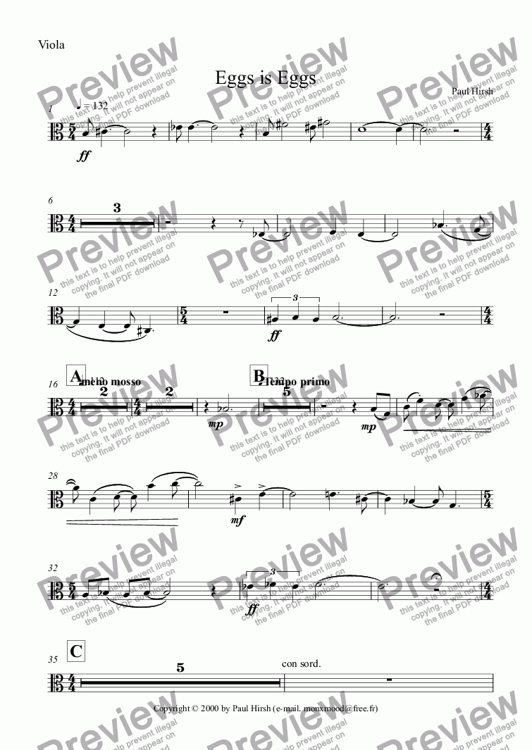 page one of the Viola part from Eggs is Eggs