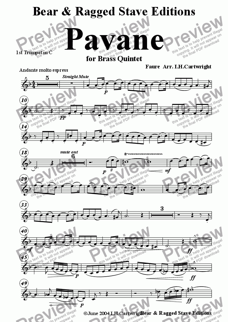 page one of the 1st trumpet in C part from Pavane for Brass quintet