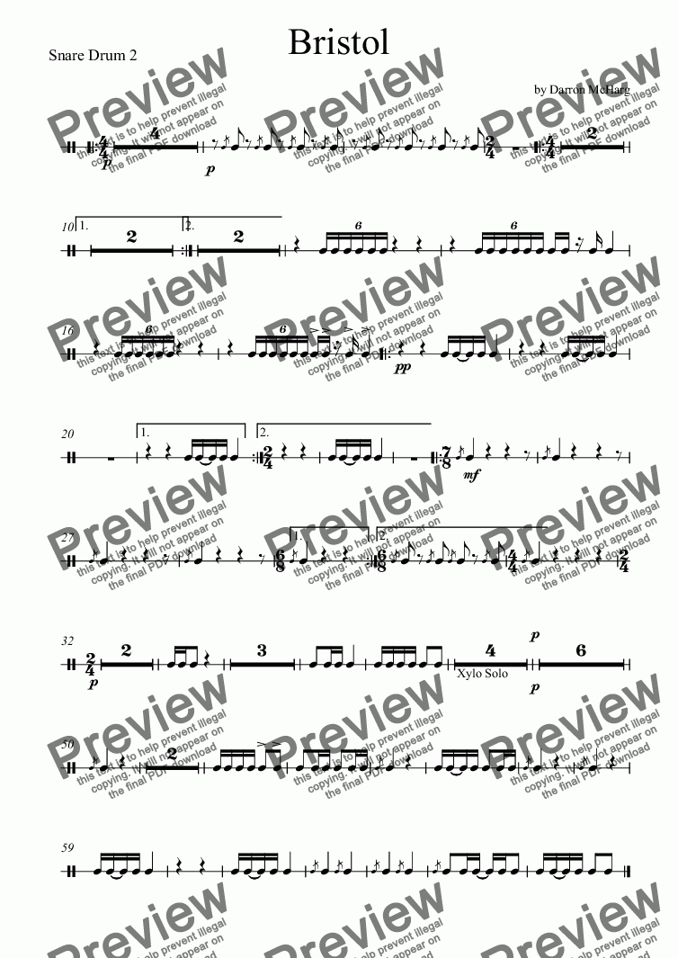 page one of the Snare Drum 2 part from Bristol