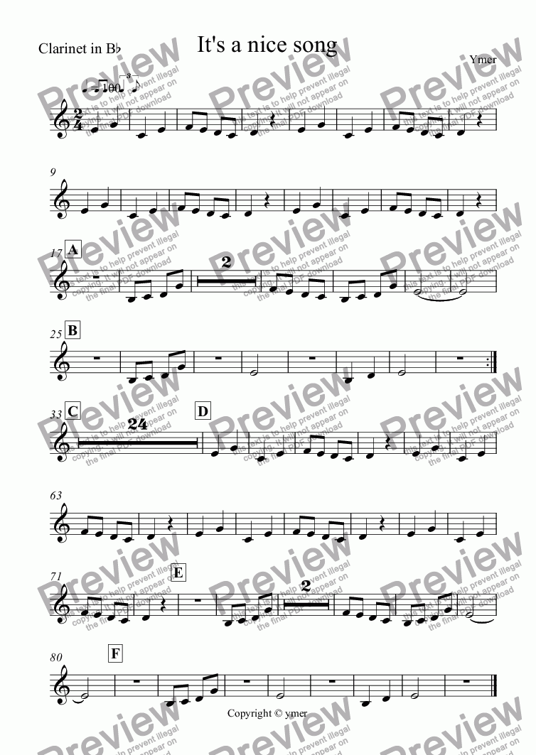 page one of the Clarinet in B^b part from It's a nice song