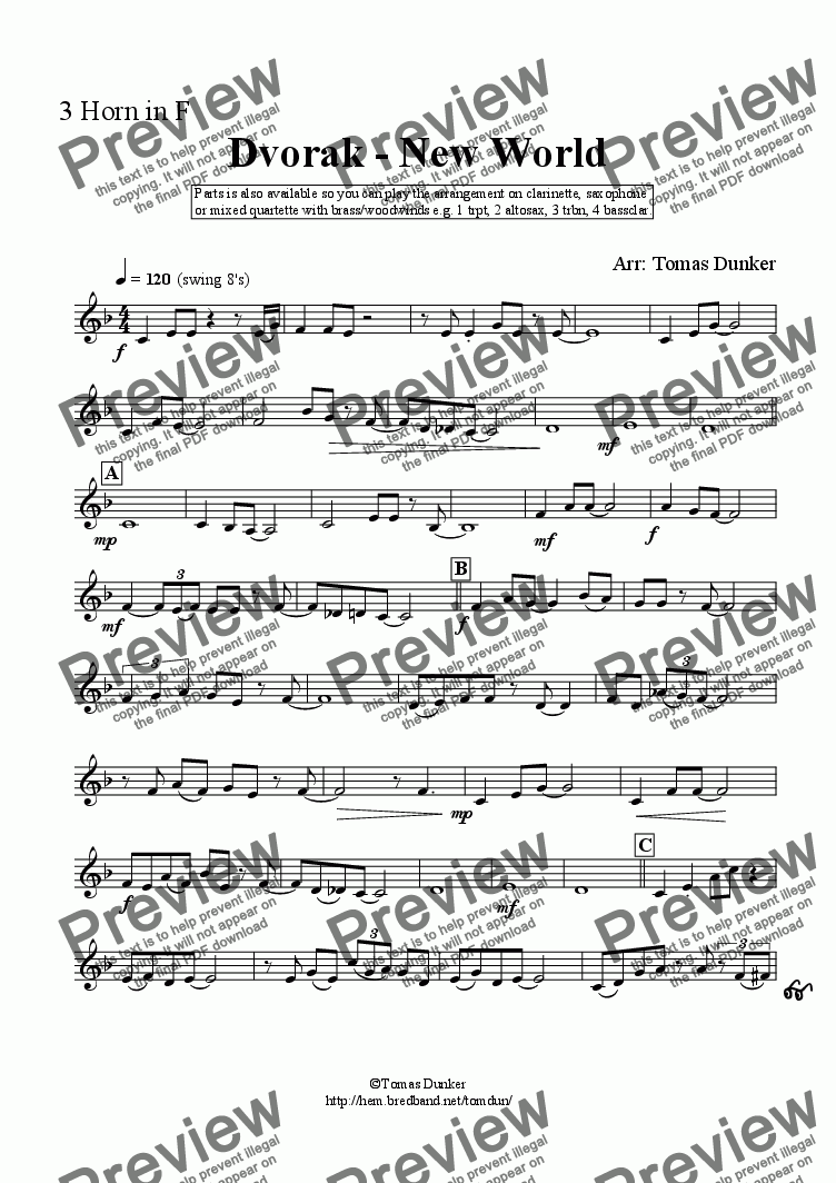 page one of the 3rd Horn in F part from Dvorak - New World (sax/clar/mix quart)