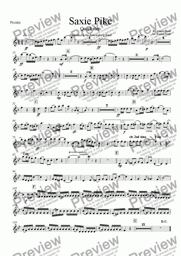 page one of the Piccolo part from Saxie Pike