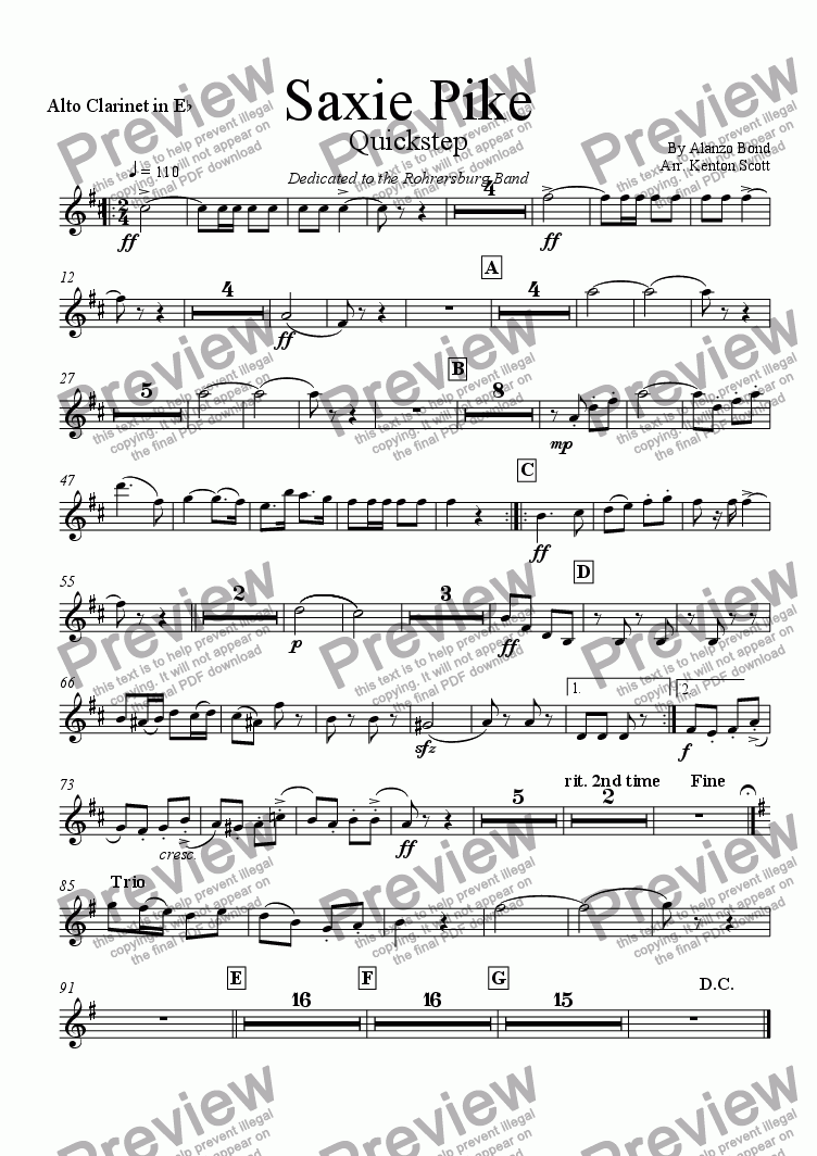 page one of the Clarinet alto part from Saxie Pike