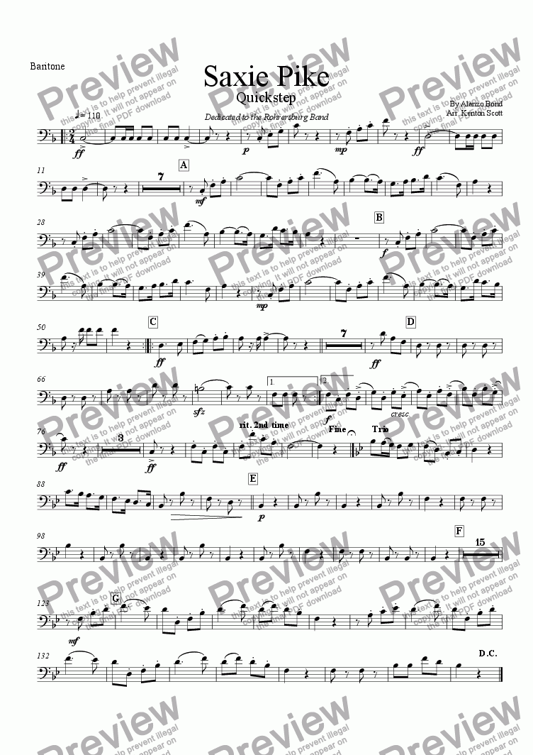 page one of the Euphonium part from Saxie Pike