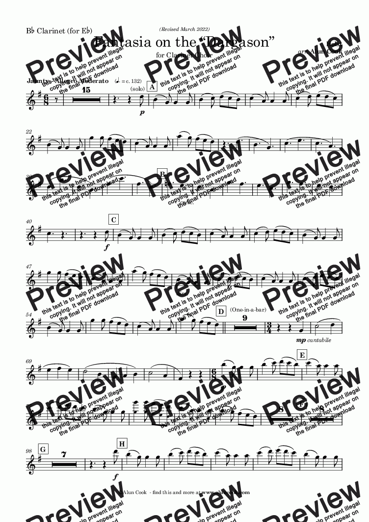 page one of the Bb Clarinet  (for Eb) part from Fantasia on The Dargason (Clarinet Choir)