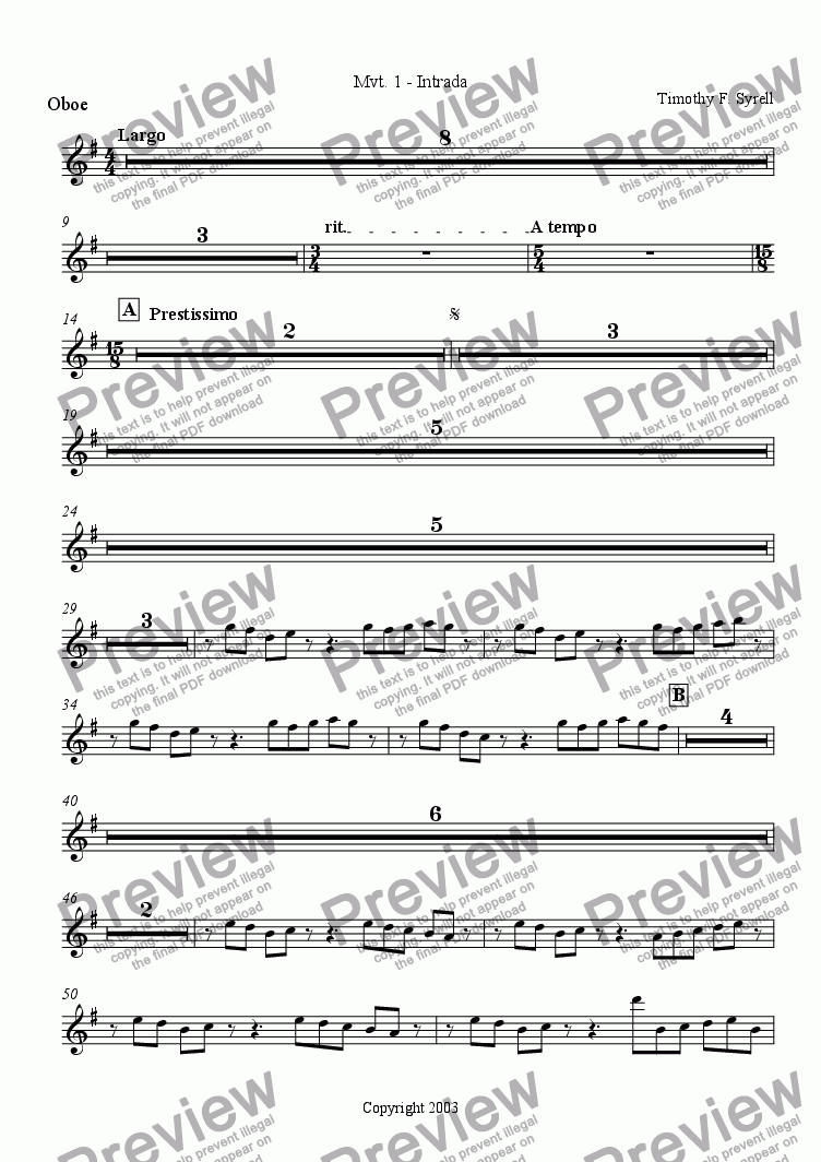 page one of the Oboe part from Symphonic Metamorphosis - Mvt. 1 - Intrada