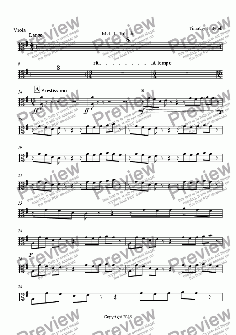 page one of the Viola part from Symphonic Metamorphosis - Mvt. 1 - Intrada