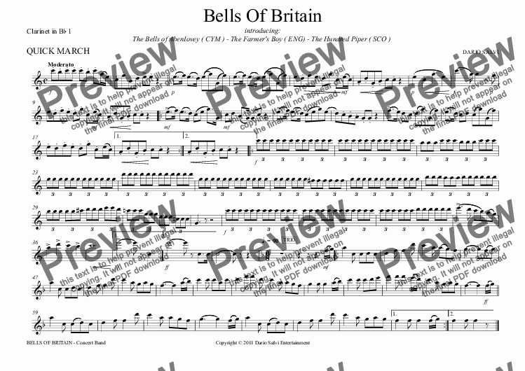 page one of the Clarinet in B^b 1 part from Bells Of Britain March