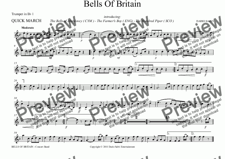 page one of the Trumpet in B^b 1 part from Bells Of Britain March