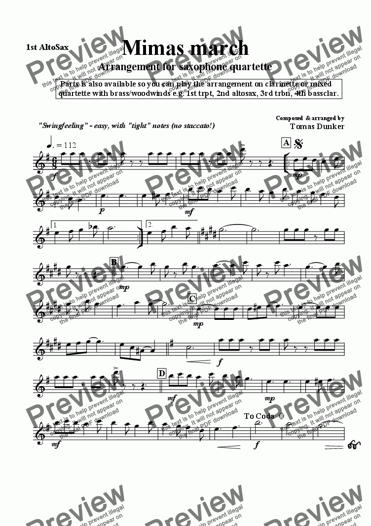 page one of the 1st Altosax part from Mimas March (sax/clar/mix quart)