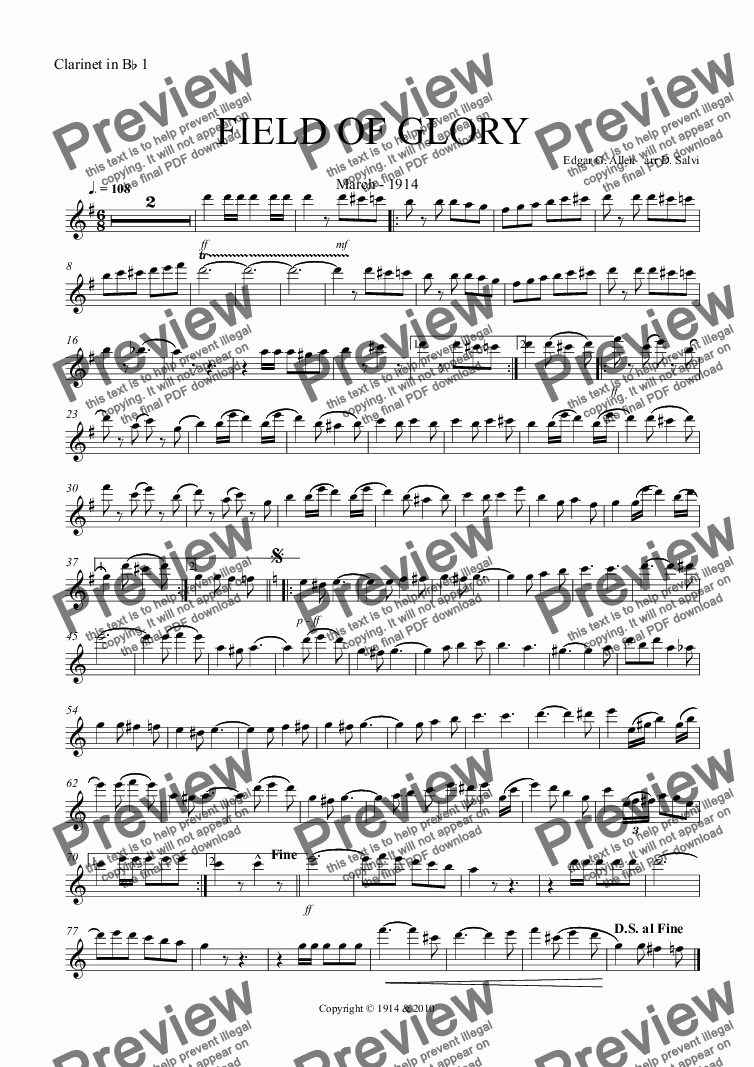 page one of the Clarinet in B^b 1 part from FIELD OF GLORY March