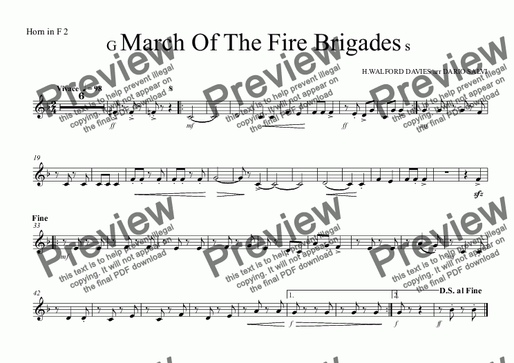 page one of the Horn in F 2 part from Grand March Of The Fire Brigades - UK