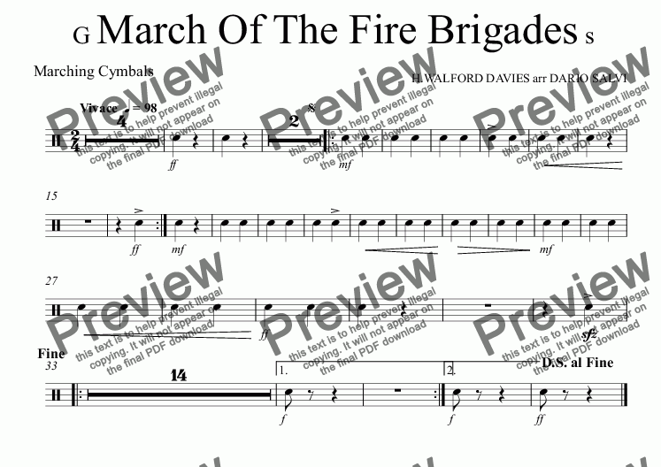 page one of the Marching Cymbals part from Grand March Of The Fire Brigades - UK